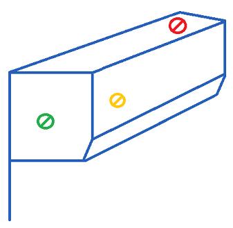 détail des sorties de câble possible d'un coffre pour un volet roulant avec une pose sous linteau intérieur