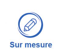 logo d'un crayon avec les mots sur mesure de volet direct usine
